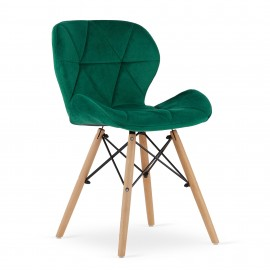 4-ių kėdžių komplektas LAG, žalias aksomas